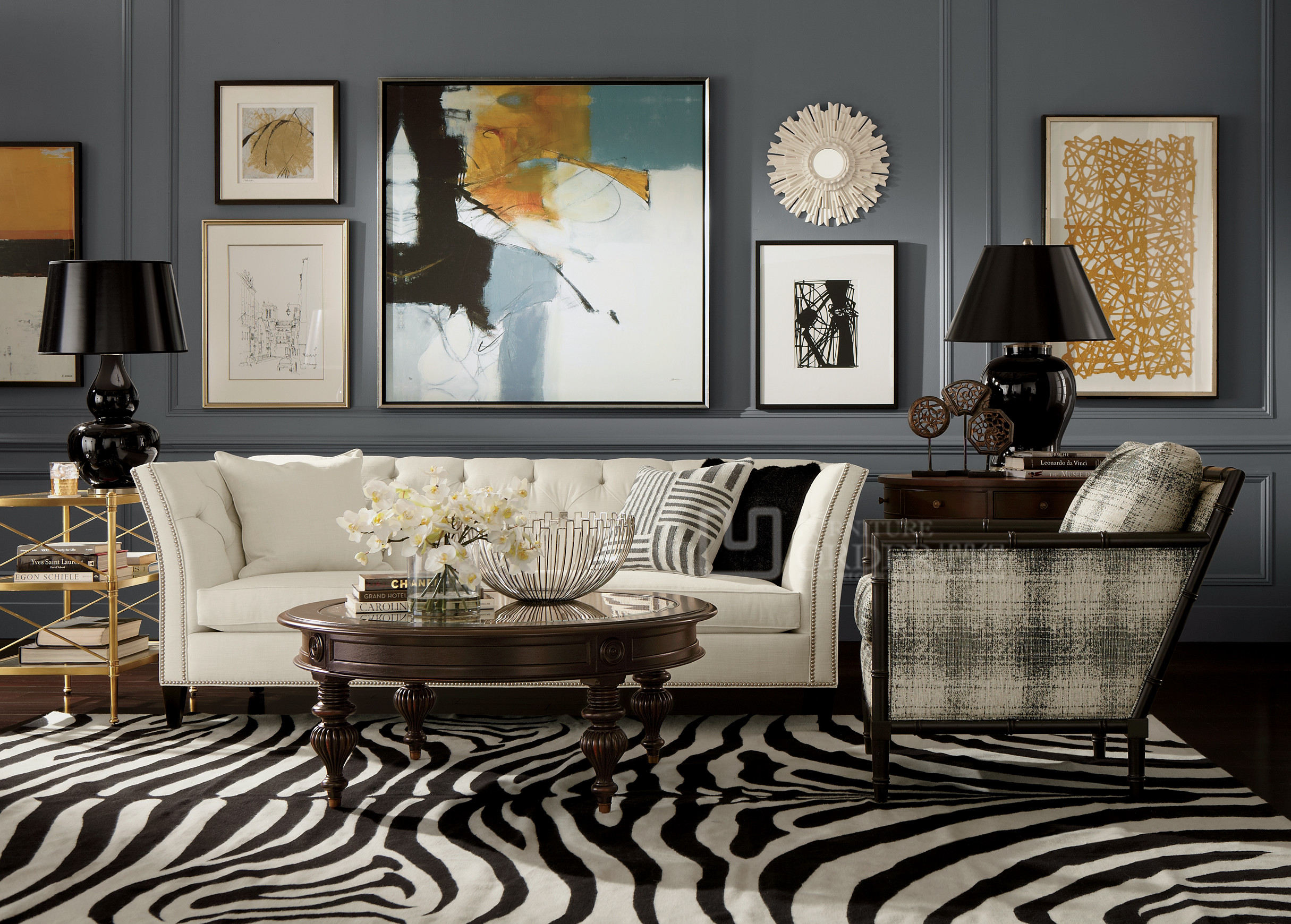 凹得全房定制 简约美式家具 简约欧式客厅家具 混搭